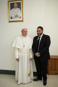 Gilbert Antoine during a private visit to Pope Francis